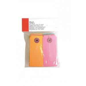 Papírové tagy – visačky, žlutá + růžová, 40ks