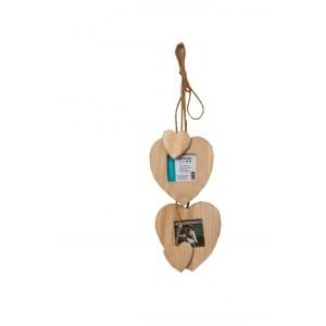 Dřevěná srdce rámeček 2ks