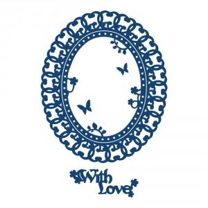 Vyřezávací krajková šablona - Ovál - s láskou