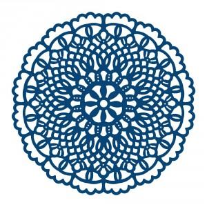 Vyřezávací krajková šablona - Krajkový ubrousek kruh