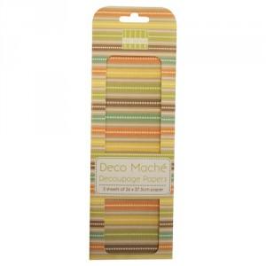 Papíry na decoupage 3ks, Stripes