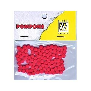 Pompony mini 3mm, 100ks, červená