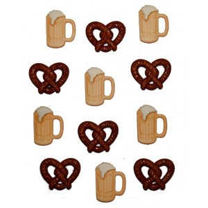 Dekorační knoflíčky BF-Pretzels & beer