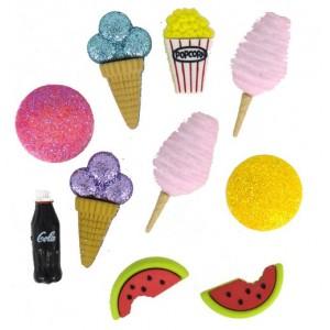 Knoflíčky a dekorace k nalepení Snack attack