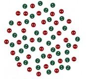 Dekorační knoflíčky Round- red/green