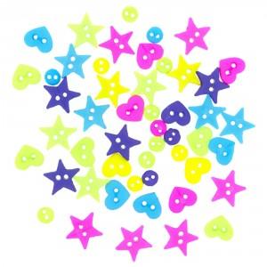 Dekorační knoflíčky Neon- mix