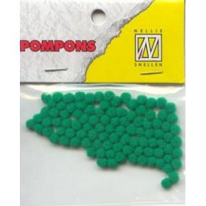 Pompony mini 3mm, 100ks, středně zelená