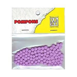 Pompony mini 3mm, 100ks, sv.fialová