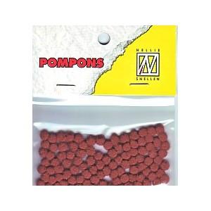 Pompony mini 3mm, 100ks, hnědá