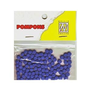 Pompony mini 3mm, 100ks, tm.modrá