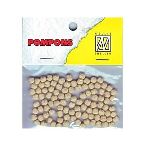 Pompony mini 3mm, 100ks, béžová