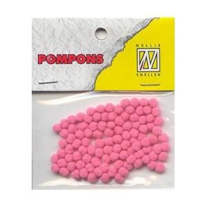 Pompony mini 3mm, 100ks, růžová