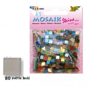 Mozaika z pryskyřice 5x5 mm - lesklá světlá šedá