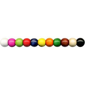 Dřevěné korálky 56 ks, pr.10 mm, barevný mix