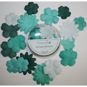 Papírové květy -aqua, 24 ks