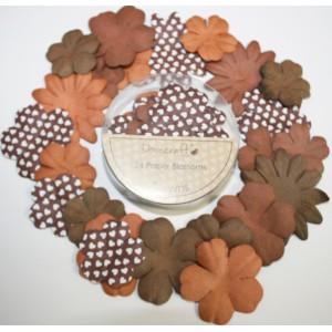 Papírové květy -natural, 24 ks