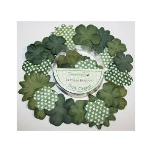 Papírové květy -tmavá zelená, 24 ks