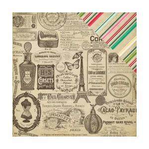 Scrapbookový papír motiv Vintage ads - korálky a dekorace