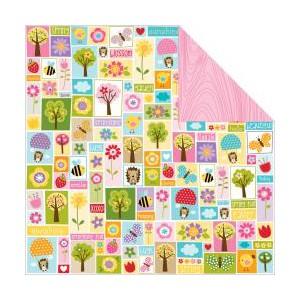 Scrapbookový papír motiv Spring patchwork - korálky a dekorace