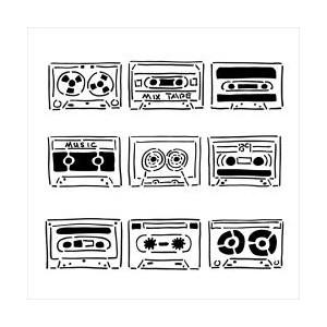 Plastová šablona - Mini Mix Tape, 15 x 15 cm