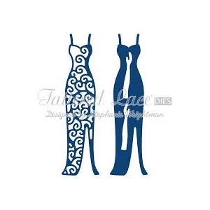 Vyřezávací krajková šablona – Šaty dlouhé