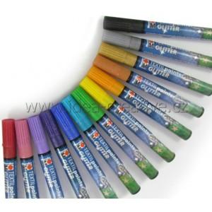 Textil painter glitrový, hrot 3 mm - modrá