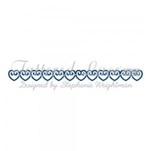 Vyřezávací krajková šablona – Mini bordura srdce