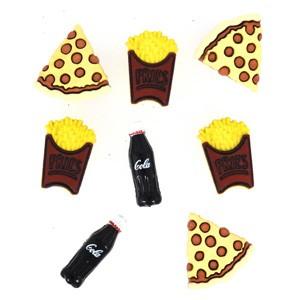 Dekorační knoflíčky BF Pizza / Fries / Cola