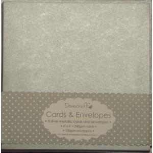 Přání s obálkou 15,2 x 15,2 cm, stříbrné metalické
