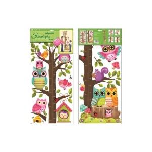Samolepka na zeď - dětský metr strom se sovičkami