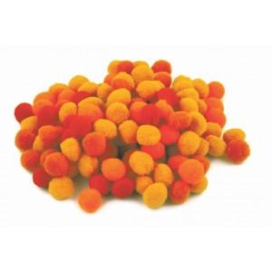 Pompony, oranžový mix