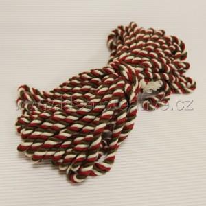 Bavlněná šňůra 15m, bavlna přírodní s hnědou a červenou