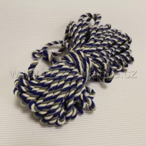 Bavlněná šňůra 15m, bavlna přírodní s modrou a šedou