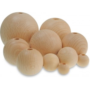 Dřevěné korálky kulaté, pr. 50 mm