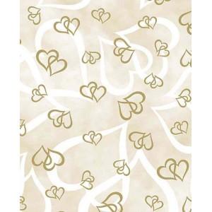 Transparentní papír A4  propletená srdíčka zlatá