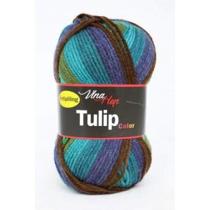 Vlna Tulip color -zeleno-hnědo-modrý melír