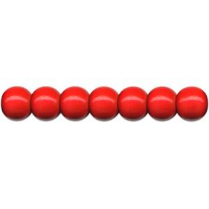 Dřevěné korálky 56 ks, pr.10 mm, barva červená