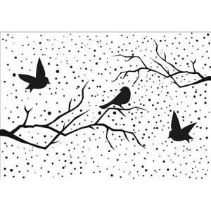 Embosovací šablona - Zimní obraz s ptáčky