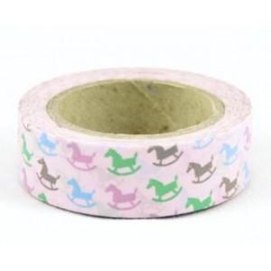 Dekorační lepicí páska Washi - houpací koník