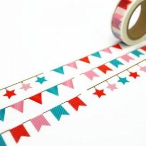 Dekorační lepicí páska Washi - hvězdy, vlajky barevné