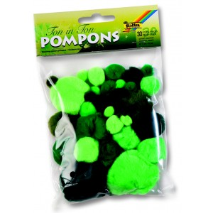 Bambulky - pompony mix zelená
