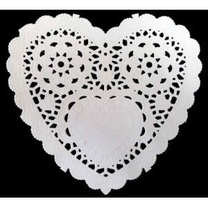 Dekorace - papírová krajka heart 12,7 cm