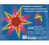 Transparentní papíry na origami barevné 15 x 15 cm