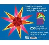 Transparentni papíry na origami barevné 20 x 20 cm
