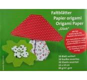 Papíry na origami set štěstí 15 x 15 cm, 6 barev, 30 listů