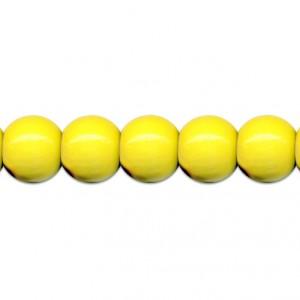 Dřevěné korálky 85 ks, pr. 8mm, žluté