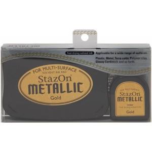 Sada razítkovacího polštářku a zlaté inkoustové náplně StazOn Metallic