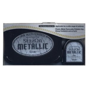 Sada razítkovacího polštářku a stříbrné inkoustové náplně StazOn Metallic