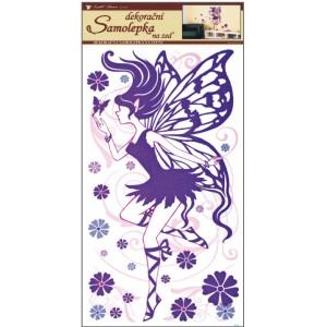 Samolepka na zeď - víla fialová s glitry