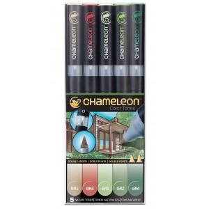 Set Chameleon tónovací fixy, 5ks - přírodní tóny